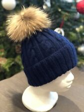 Navy Blue Cable hand-knitted Cashmere Hat With Real Fur Pom Pom