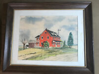 """Vintage Helen Cleland """"Amish Farmhouse Scene"""" Watercolor Painting -Signed/Framed"""