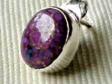 SINGLE STERLING SILVER 12mm.x 8mmSTUD EARRING with PURPLE COPPER STONE £6.50 NWT