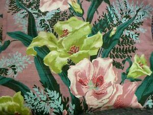 Pr Vtg Cotton Barkcloth Curtains BIG Pink & Chartreuse Flowers Each 24x79