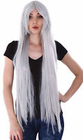 Halloween Women Long Straight Sliver Grey Full Wigs Cosplay Costume Party Wigs