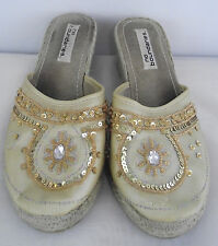 "9.5 Beaded Indian Bollywood womens shoes heels flip flops tan gold 2.5"" heels"