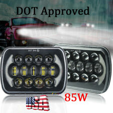 "Pair Black 85W 5X7"" 7x6"" Sealed Beam LED Headlights for Jeep Cherokee XJ Trucks"