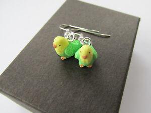 Budgie Handmade Miniature Green Budgie Budgerigar Pet Bird Earrings Gift Boxed