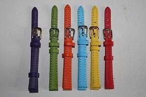 10mm Ladies Watch Straps Choice of Pastel Bright Colours Genuine Leather Band