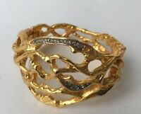 ELIZABETH TAYLOR For AVON Vintage Gold Tone And Diamanté Bracelet Bangle