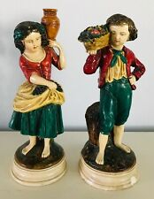 Borghese Figurines Girl with Jug & Boy with Basket of Fruit Vintage Chalkware