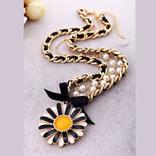 Anthropologie Luna Sun Flower Black White Yellow Beaded Pearl Necklace