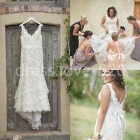 Vintage White/Ivory Lace Appliques Wedding Dress Bridal Gown Plus Size 18 20 22+