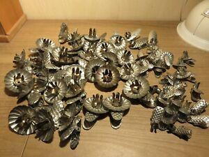 Gros lots anciennes bobèches pour grandes et petites bougies, décoration Noël