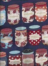Navy Blue Jelly Jar Jam Flour Polka Dot Kitchen Window Valance Curtain Decor