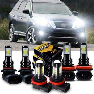 For Nissan Pathfinder 2013 2014 2015 2016 LED Headlight Low Beam + Fog Light Kit