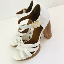 Bebe White Heels Wooden Look Heel . Platform. Size 6.