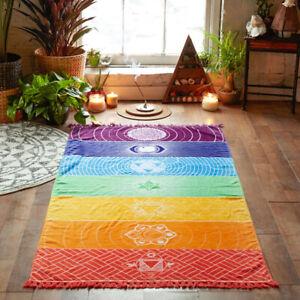 Chakra Tapestry Beach Yoga Mat Sunscreen Shawl Tapestry Hippy Boho Gypsy Rainbow