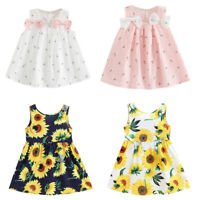 Toddler Kids Baby Girls Solid Bow Print Floral Suspender Princess Party Dress