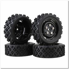4xRC1:10 On-road Car Flower Pattern Rubber Tyre+4-Hole Plastic Wheel Rim Black