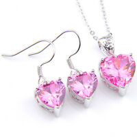 Engagement Heart Jewelry Set Heart Pink Topaz Silver Pendants Necklaces Earrings