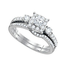 14k White Gold Princess Diamond Bridal Wedding Engagement Ring Band Set 7/8 Cttw