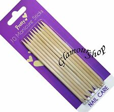 10 x Pretty Wooden Manicure Sticks Set Pusher Cuticle Remover