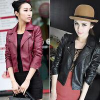 Women PU Leather Cropped Punk Biker Jackets Ladies Oblique Zip Lapel Coats 6-16
