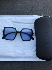 CHANEL Blue Square sunglasses Italy Made 14271-43906 Hard Case Lot Vintage
