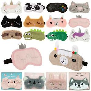 Novelty Cute Soft Plush Fluffy Design Childs Eye Sleeping Mask Travel Blindfold