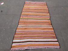 Old Shabby Chic Hand Made Persian Oriental Pink Wool Strip kilim Gelim 210x115cm