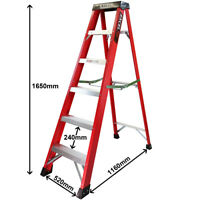 Excel Electricians 6 Tread Fibreglass Step Ladder Heavy Duty Pro Series 1.65M