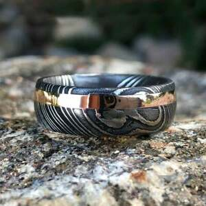 Rose Gold Wedding Bands For Men Damascus Steel Rings