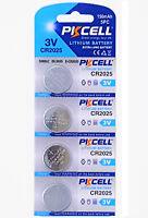 4 x CR2025 3V Lithium Batterie 150 mAh ( 1 Blistercard a 4 Batterien ) PKCELL