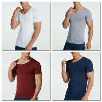 1PC Men Fashion Ice Silk V Neck Solid Fitted Gym Short Sleeve T-shirts Tops Tees