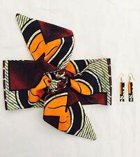 Mesdames Head Wrap et boucles d'oreilles Set African Wax Print Retro Ankara Bandeau