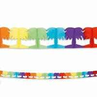 4m Garland Bunting with Palm Tree Shapes Multi Coloured Hawaii Party Birthday