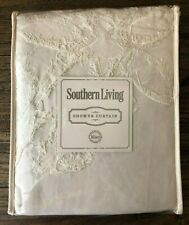SOUTHERN LIVING Newport TONAL FLORAL FRINGE Cotton SHOWER CURTAIN Natural NWT