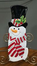 Fitz and Floyd Snowman Snack Therapy Serving Tray Canape Dish Wall Hanging 2005