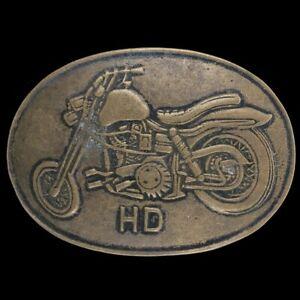 Vtg Harley Davidson Motorcycle Chopper Sportster Biker Rare Brass Belt Buckle
