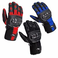 Motorcycle Motorbike Leather Vented Gloves Carbon Knuckle 3 Colours Summer