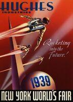 1939 New York World's Fair USA Retro Art Poster Print. Howard Hughes Ind.