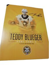TEDDY TED BLUEGER autographed PITTSBURGH PENGUINS WBS PENGUINS LINEUP CARD 2018