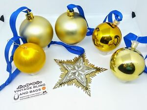 1980s Vintage gold baubles & brass star Christmas tree decorations, ornaments