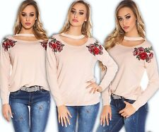 Pull avec broderie fleurs Pullover Pullover extra-large Sweat blouse haut RS