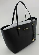 NEW AUTHENTIC MICHAEL KORS BLACK JET SET TRAVEL MD TOTE LEATHER WOMEN'S HANDBAG