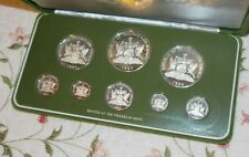 1984 Trinidad And Tobago Sterling Silver 8 pc Proof Set Franklin Mint COA & Box