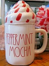 "New Rae Dunn CHRISTMAS ""PEPPERMINT MOCHA"" Red Large Letter Coffee Mug w/TOPPER"
