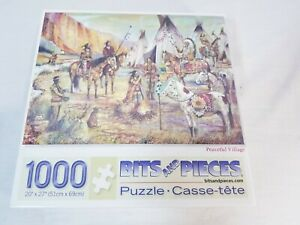 """Bits and Pieces 1000 Piece """" Peaceful Village"""" American Indian Jigsaw Puzzle New"""