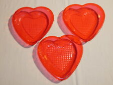 Vintage Valentine's Red Plastic Heart Tray Lot of Three