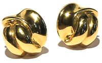 REPLICA ITALY VINTAGE GOLD TONE MODERNIST SCULPTURE CLIP EARRINGS