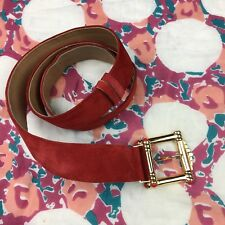"Vintage Ginnie Johansen Red Suede Belt Hip Waist Gold Accent Buckle 48"" Long"