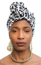 African Head Scarf White Leopard Turban Head Wrap Chemo Hair Hijab Nubian