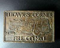 VINTAGE LUDWIGS CORNER PA PENNSYLVANIA FIRE CO. NO.1 BELT BUCKLE BRASS